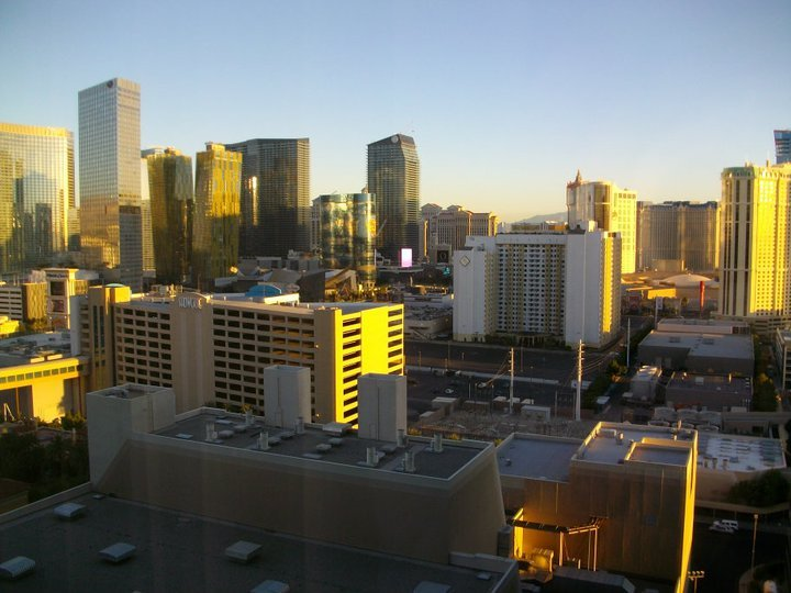 Sunrise over Las Vegas buildings
