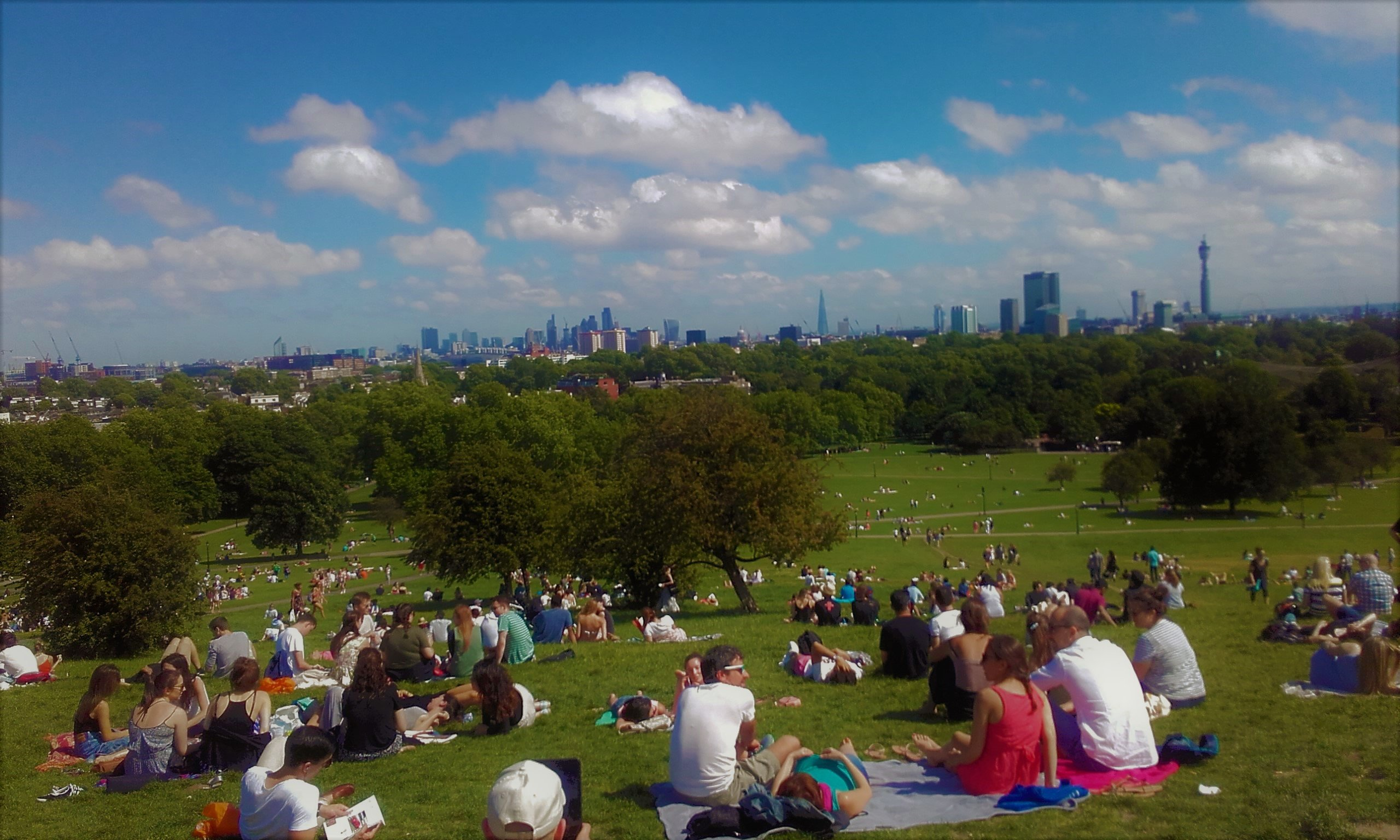Primrose Hill is a lovely place to gather on a sunny day with great views back over the city!