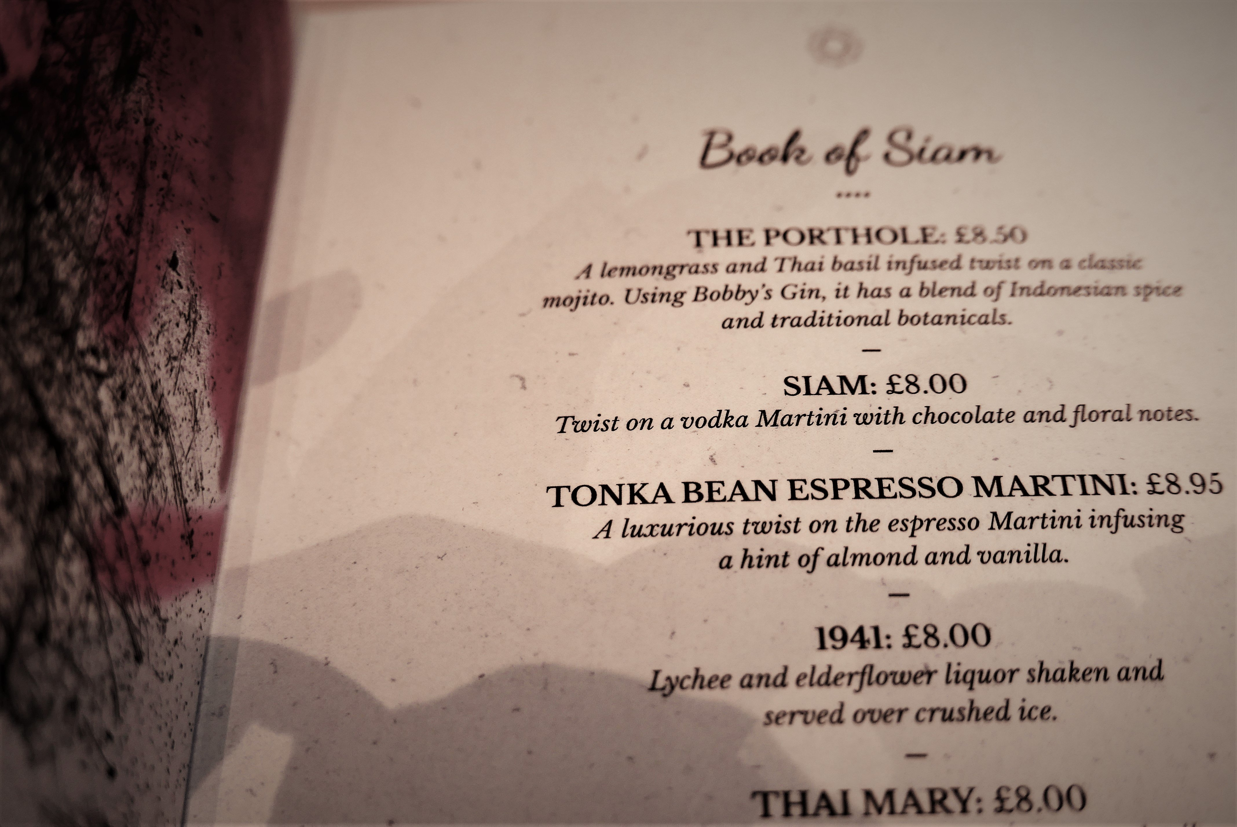 The Cocktail Menu at Siamais