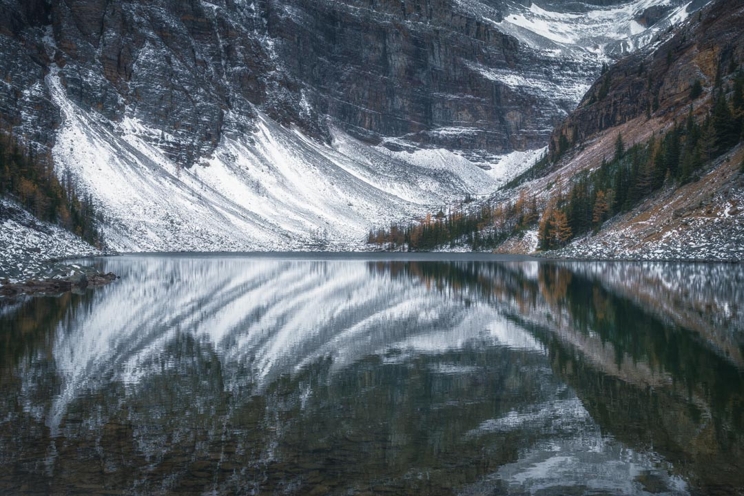Icy reflections in Lake Agnes in Alberta Province
