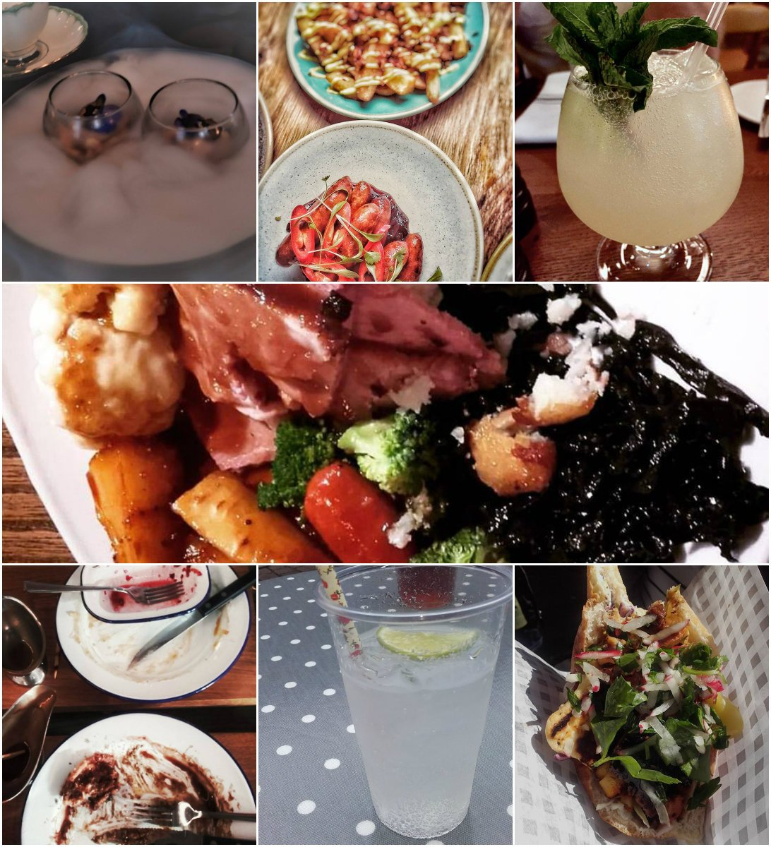 A collage of some of my food and drink photos of 2017