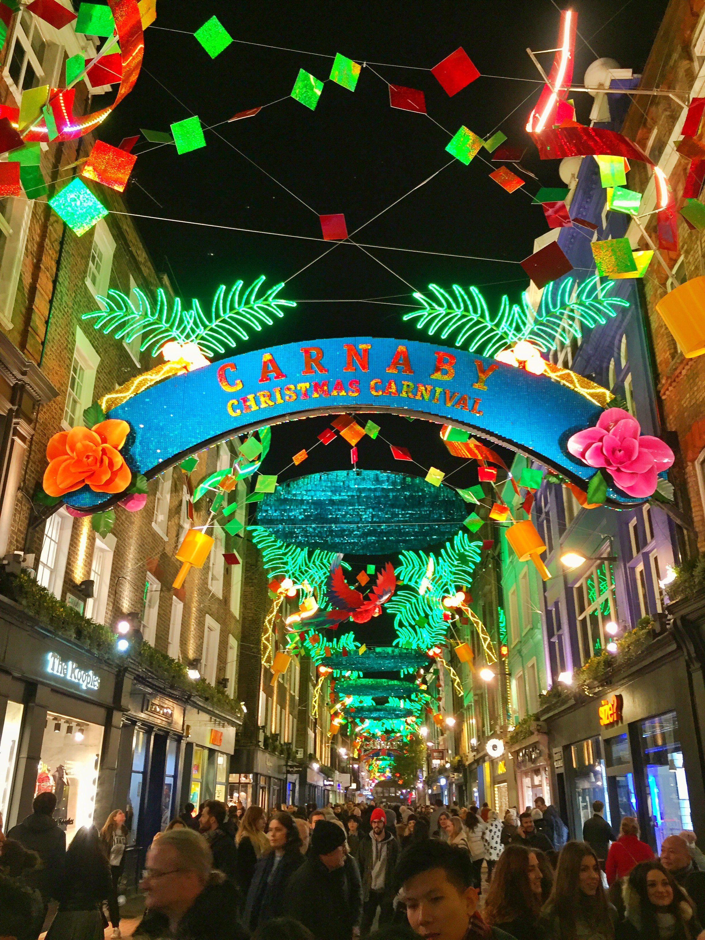 The colourful carnival festive lights of Carnaby Street