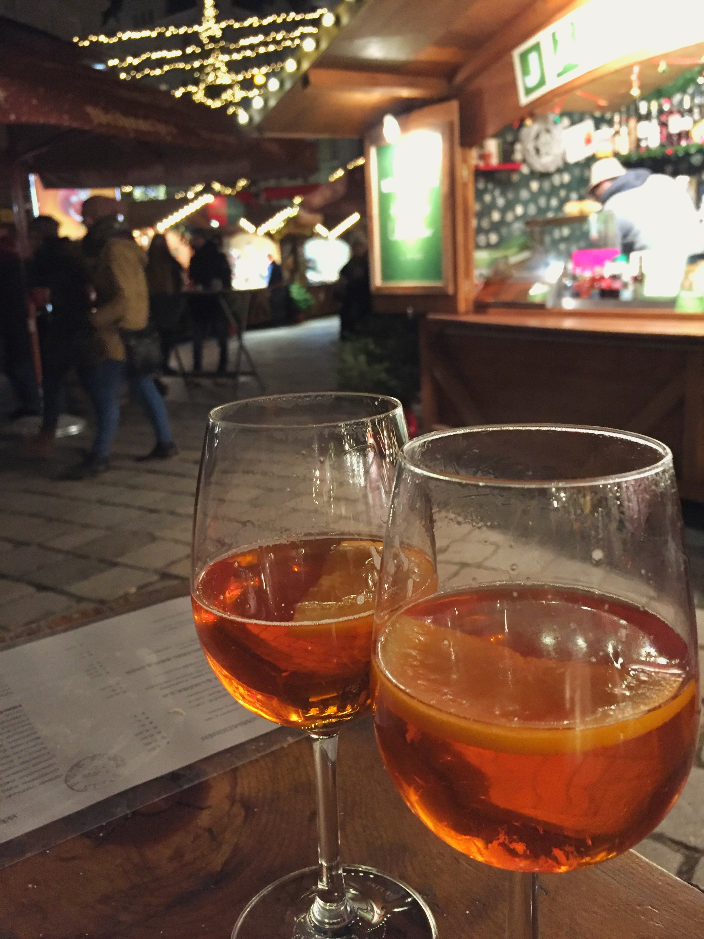 Hot Aperol Spritz at the Am Hof Advent Market in Vienna