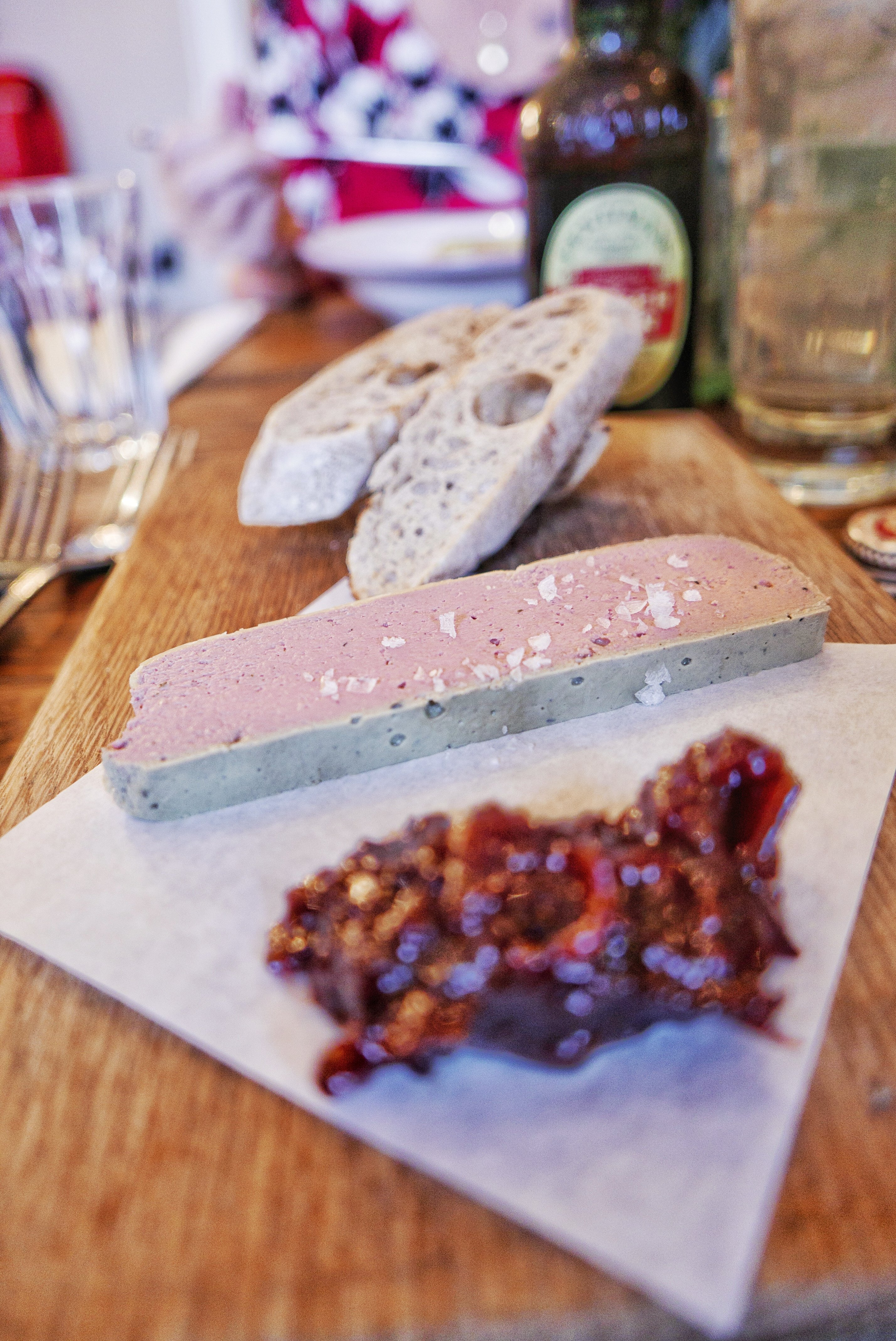 Starters at Bistrot Pierre: Chicken Liver Parfait with sourdough toast and red onion confiture