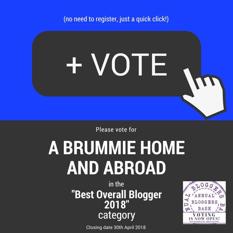 Vote for A Brummie Home and Abroad in the Best Overall Blogger 2018 Category