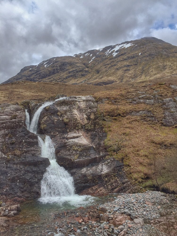 Waterfall in the Scottish Highlands; Meeting of the Three Waters in Glencoe