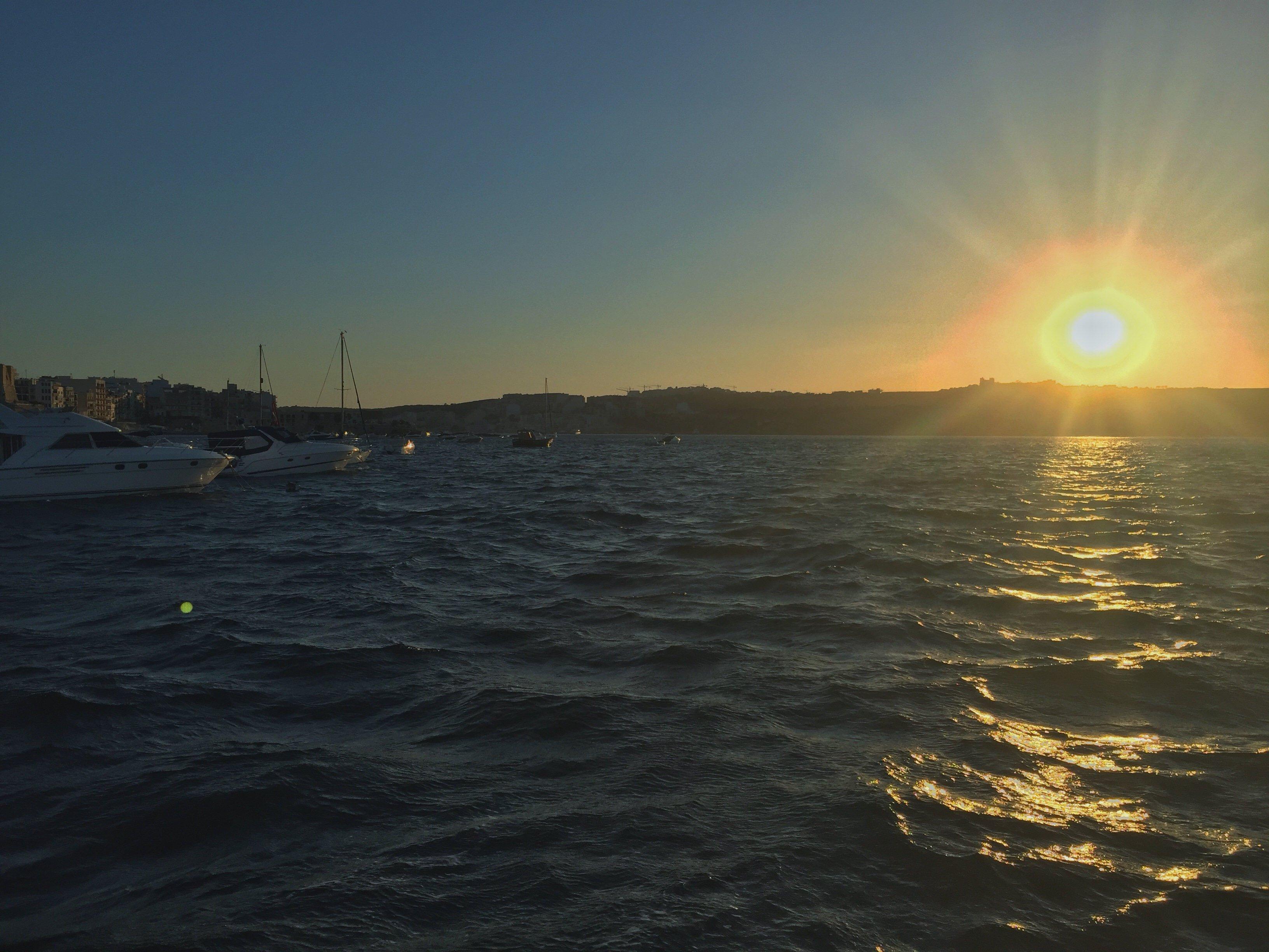 sunset, Malta, sea, boats