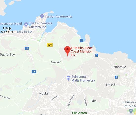 Google Map - Il Haruba Coast Ridge Mansion, Malta