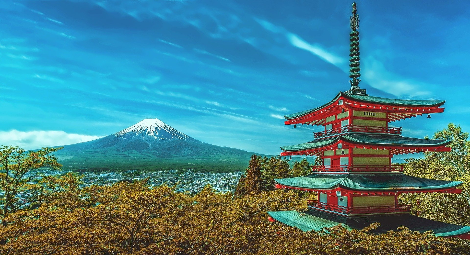 Japanese pagoda overlooked by Mount Fuji