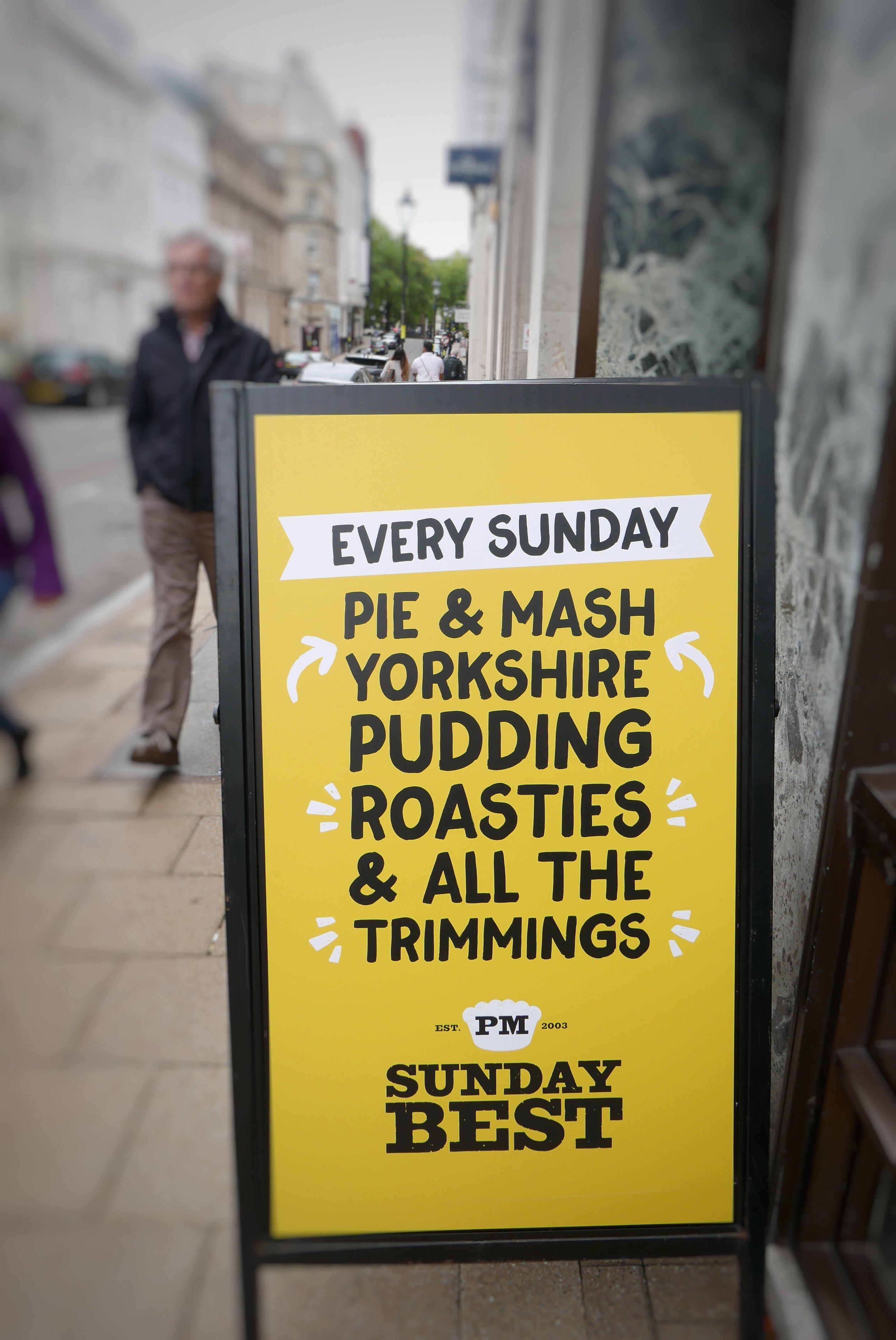 Sunday Best at Pieminister - billboard outside Birmingham restaurant