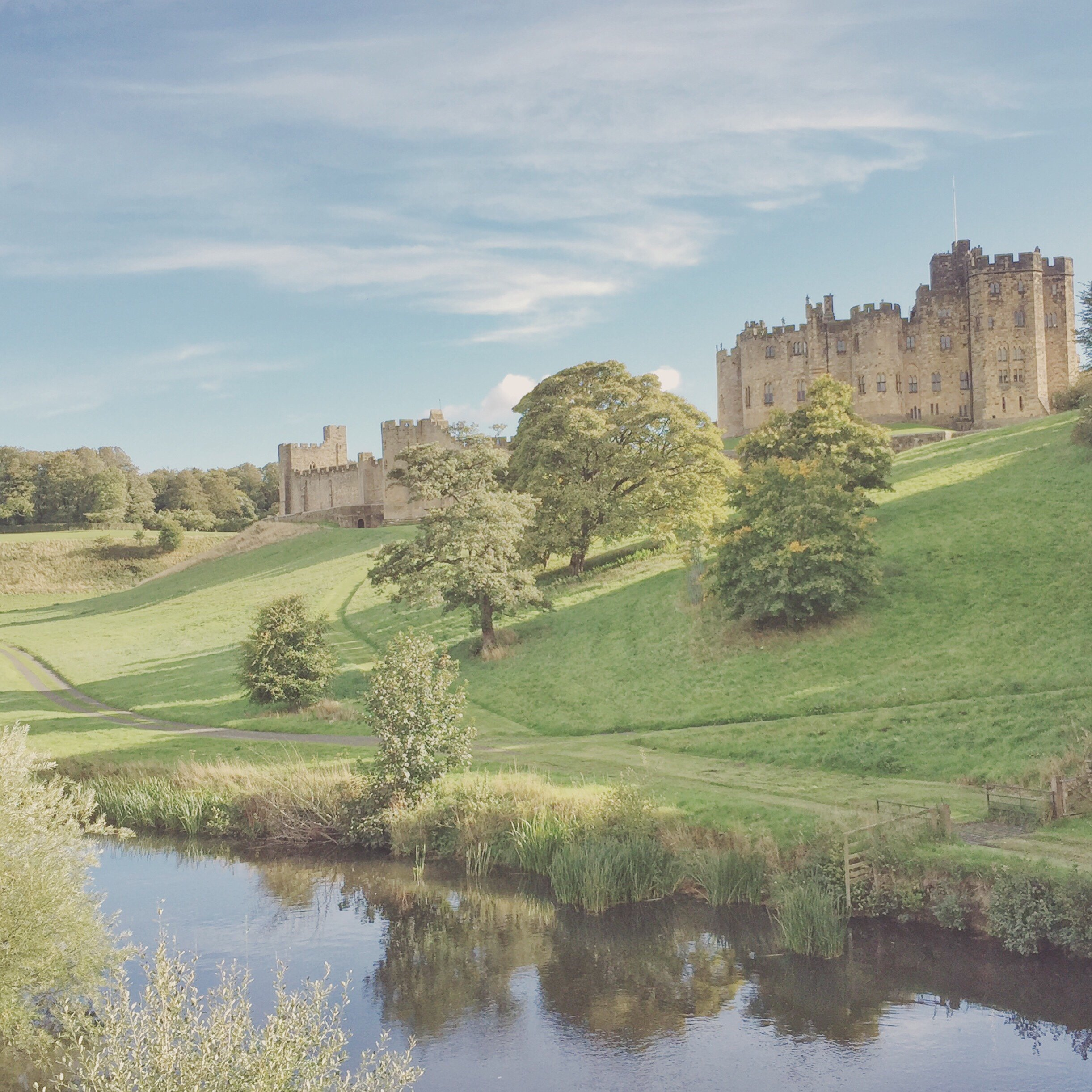 Alnwich Castle - also known as Hogwarts - in beautiful countryside surroundings