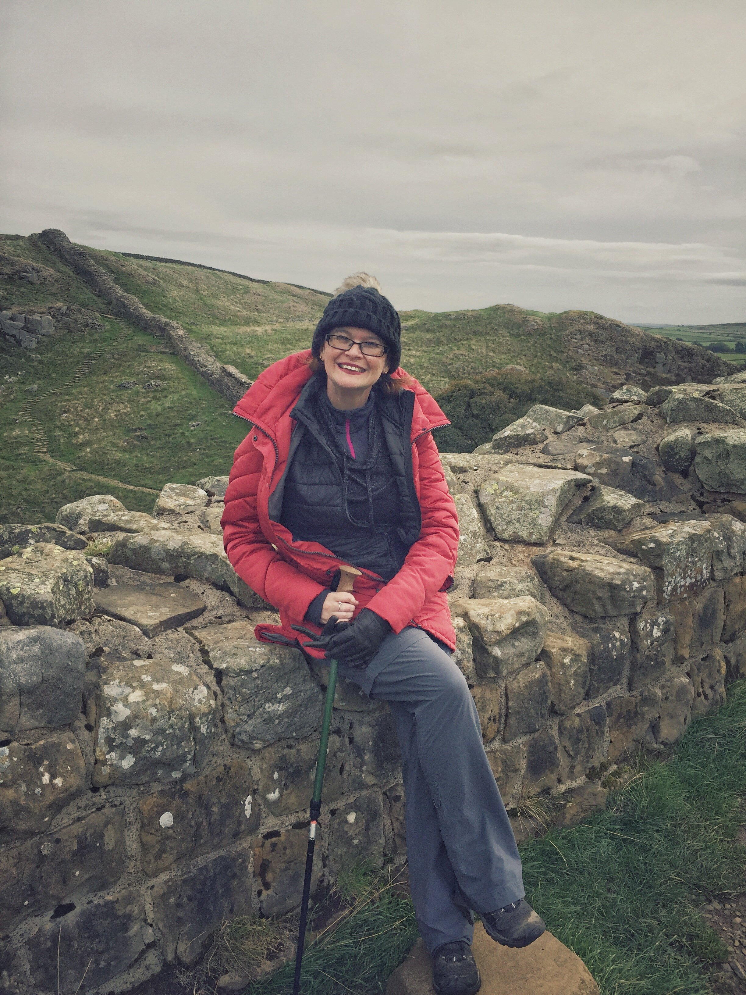 Female hiker - A Brummie Home and Abroad - at Hadrians Wall
