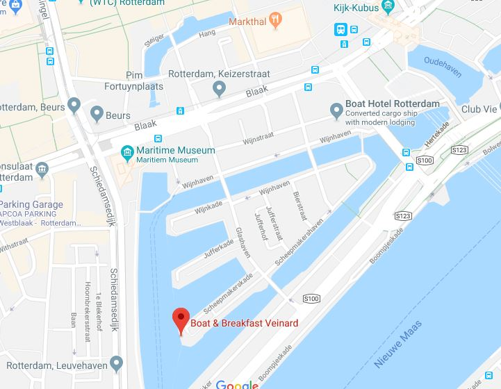 Google Map Location of Boat and Breakfast Veinard, Rotterdam