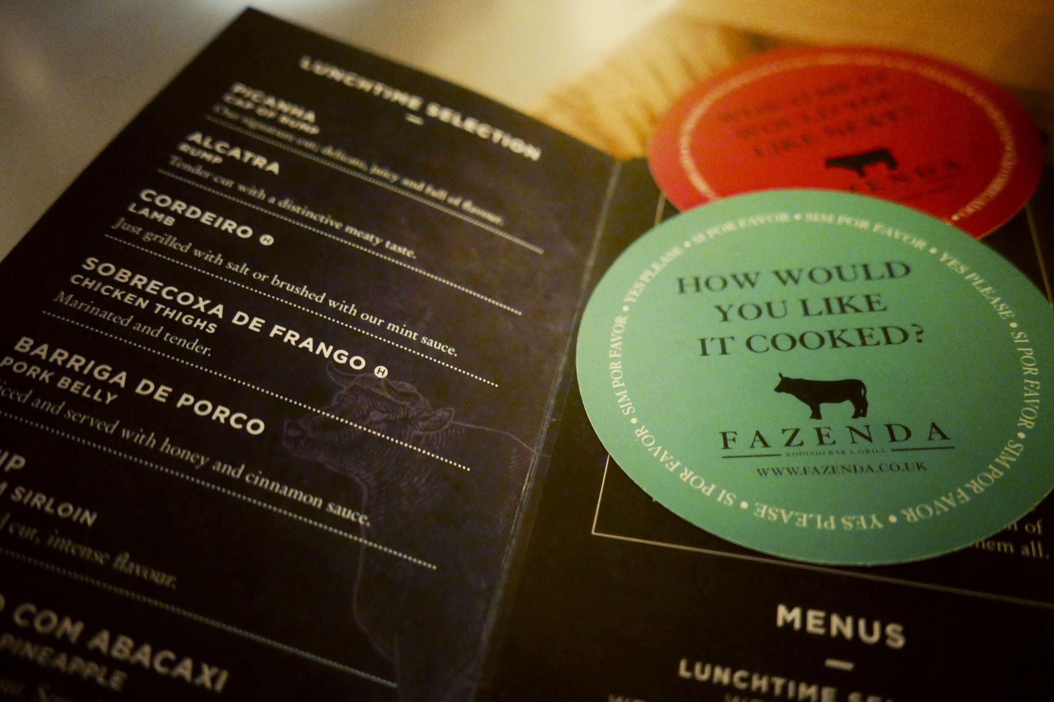 Red and Green discs and menu at Fazenda Birmingham. Planning on eating out in Birmingham? A Brummie Home and Abroad decided to spend January trying out new breakfast, lunch and dinner spots