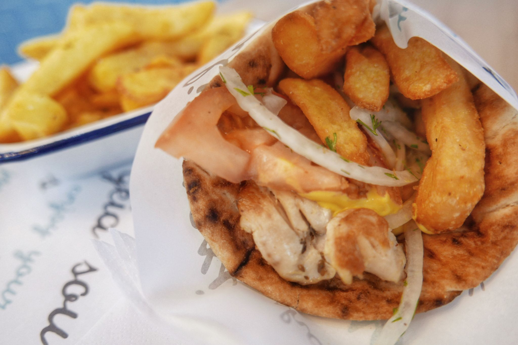 Classic Greek wrap with chicken souvlaki from All Greek Street Food Birmingham.Planning on eating out in Birmingham? A Brummie Home and Abroad decided to spend January trying out new breakfast, lunch and dinner spots