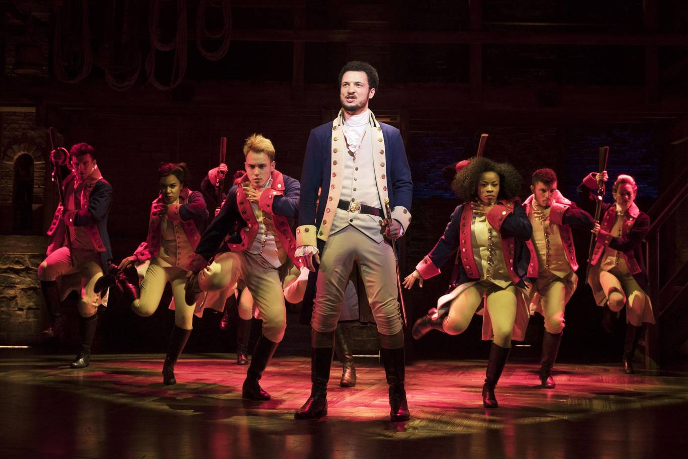 Jamael Westman (Alexander Hamilton) with West End cast of Hamilton - Matthew Murphy