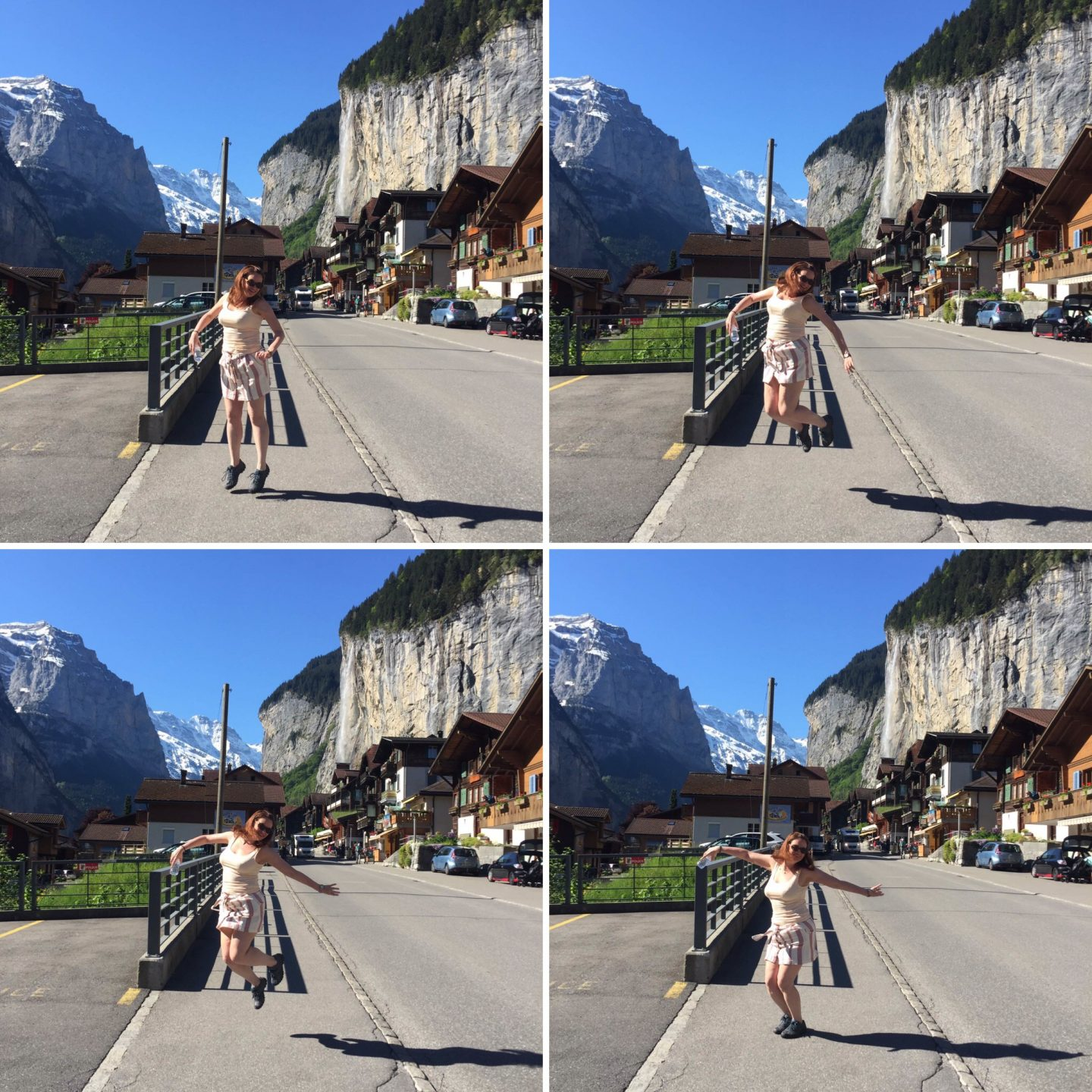 Collage of jumping shots in front of Staubbach waterfall in Lauterbrunnen, Switzerland