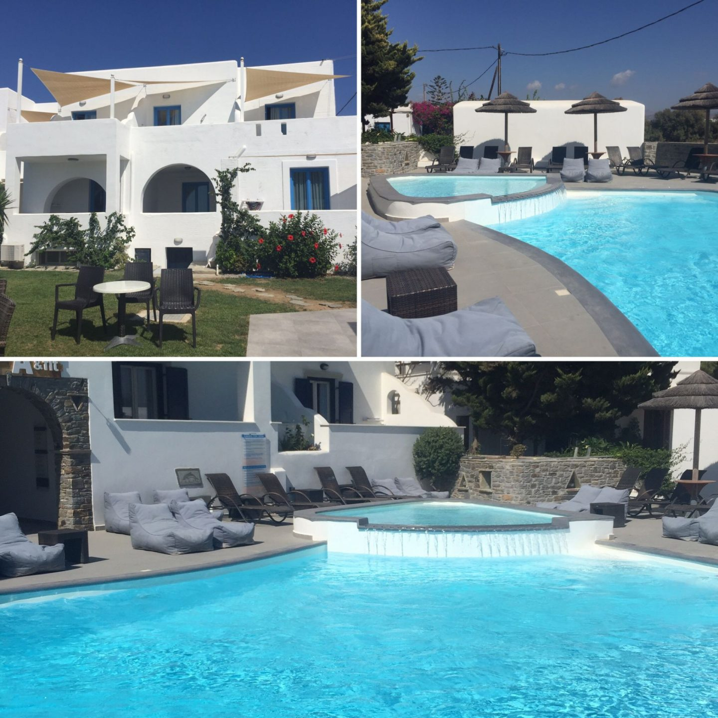 Liana Hotel in Naxos, swimming pool and lawn