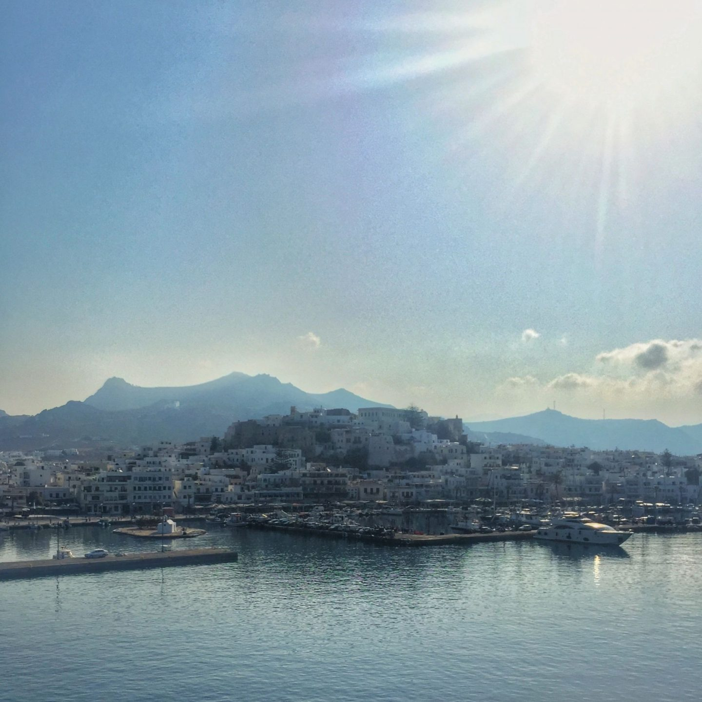 Port town of Naxos as viewed from a ferry