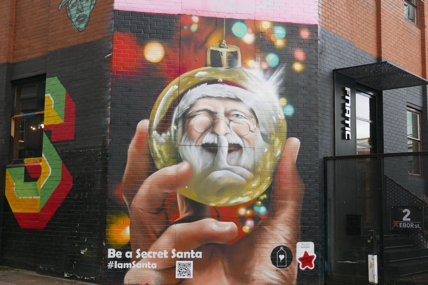Festive Street Art; Shoreditch; Santa in a bauble