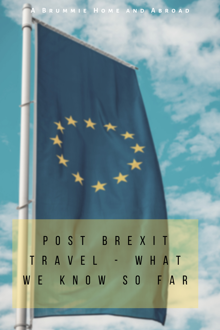 Post Brexit Travel - EU Flag, Yellow Stars on Blue Background