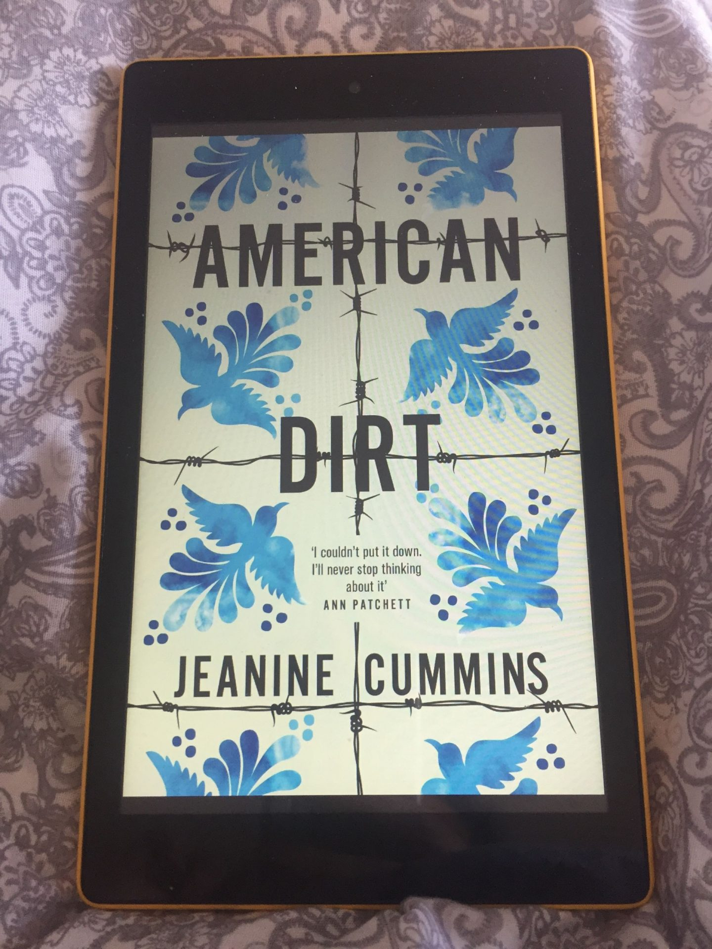 Book cover on Kindle: American Dirt