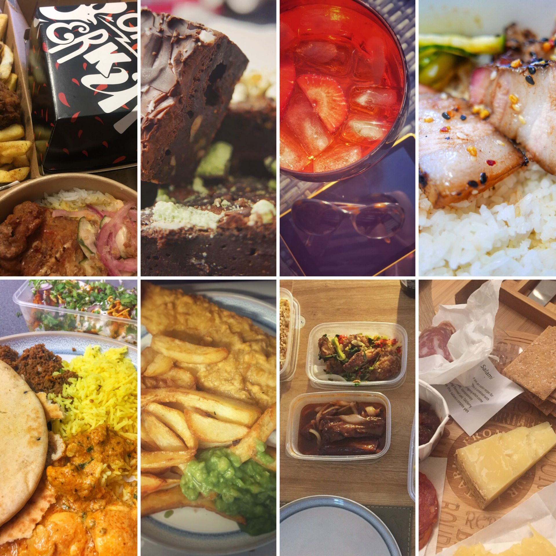 Collage of food and drink