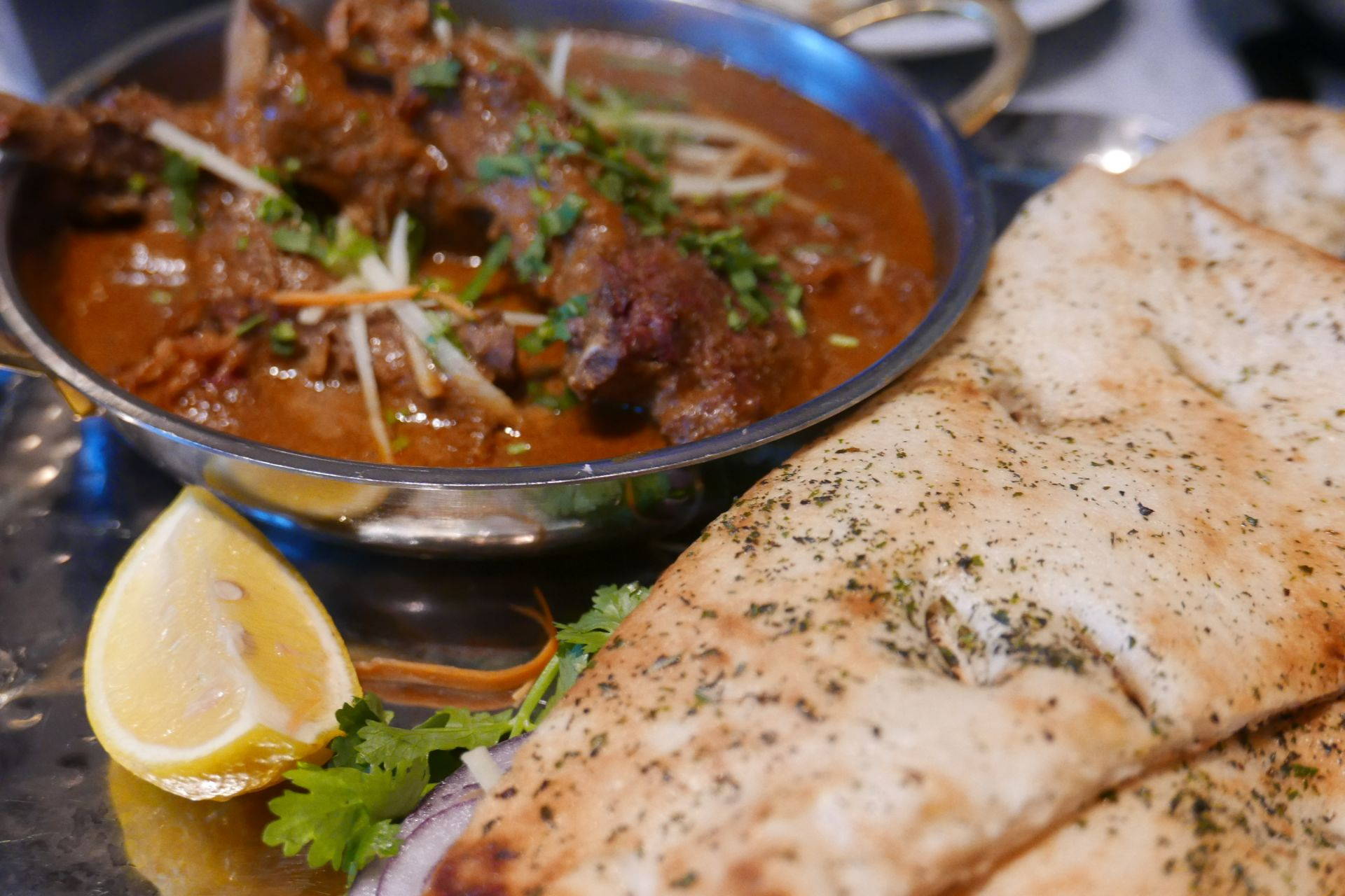 The Chef's Special at Dishoom Birmingham, mutton chaap korma with roti